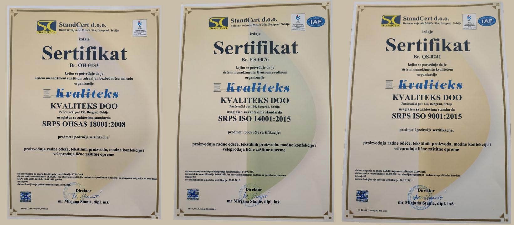 Kvaliteks-sertifikati